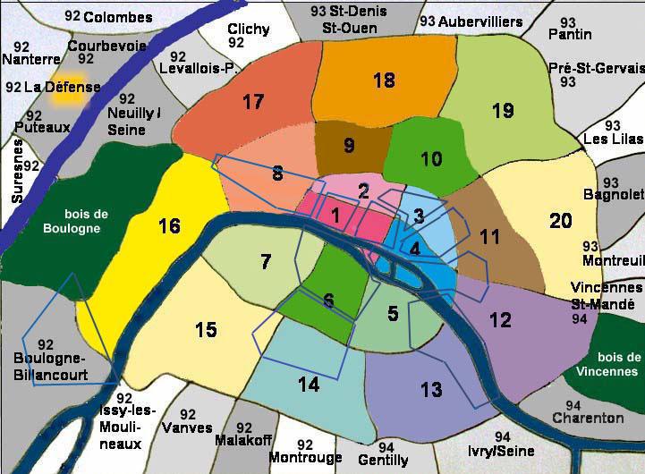 carte de paris et sa banlieue where are the art areas in Paris ?   Almanart